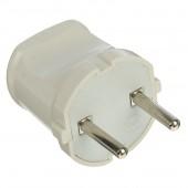 Вилка электрическая без заземления белая 6А 250В (еврослот) Universal А113