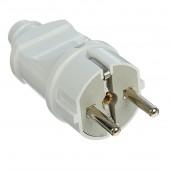 Вилка электрическая прямая с заземлением белая 16А 250В (еврослот) Universal
